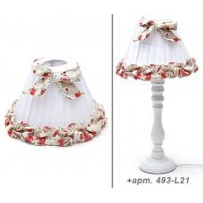 """Абажур для лампы """"Прованс"""", белый с цветами и бантом."""