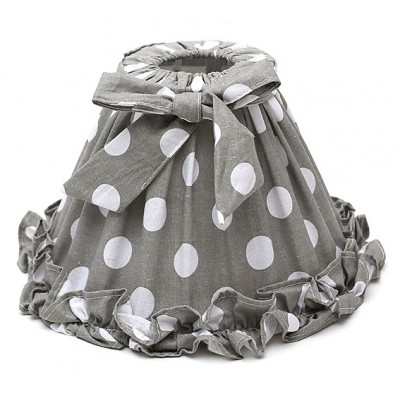 Абажур для лампы Прованс, серый в горох, с бантом.